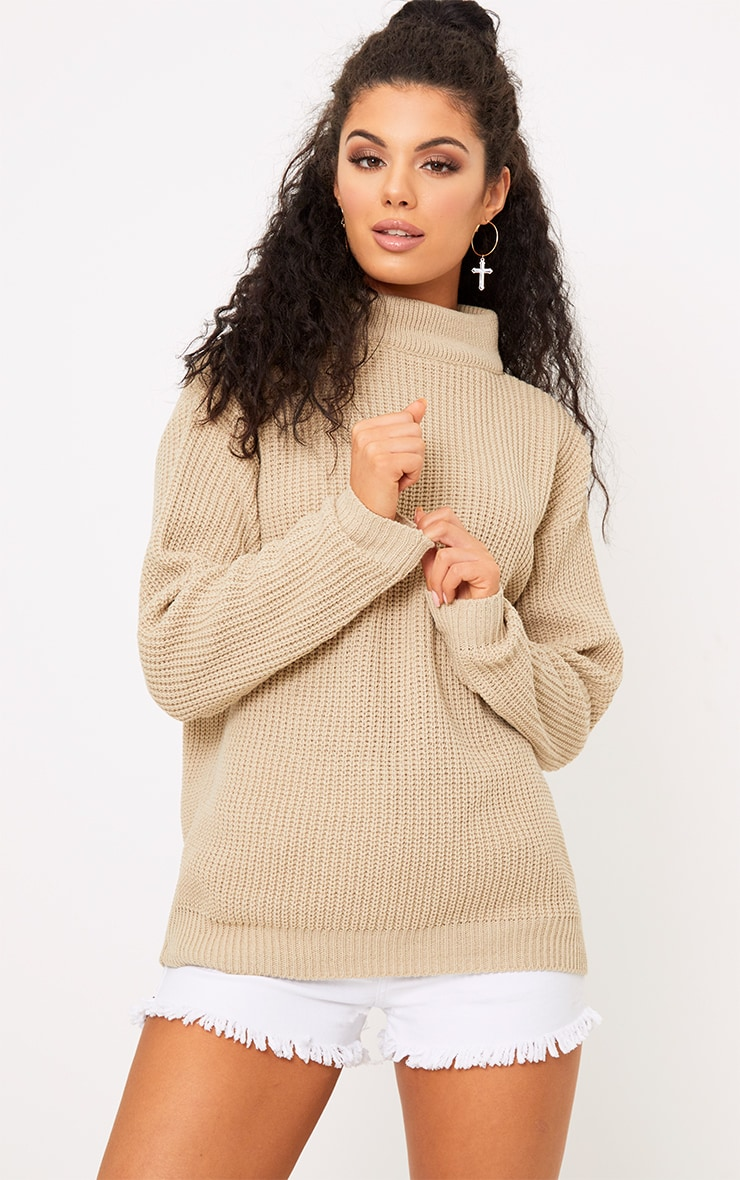 Shawnette Stone Cut Out Back Knitted Jumper 2