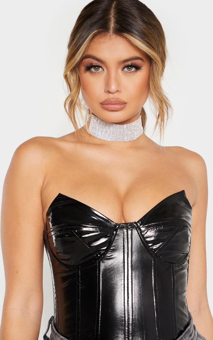 Black Faux Leather V Wire Bodysuit  5