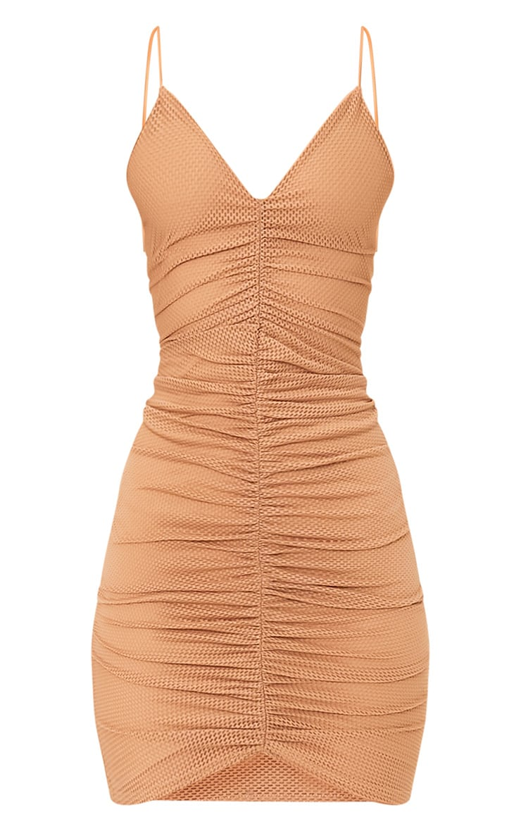 Camel Fishnet Ruched Front Strappy Bodycon Dress 3