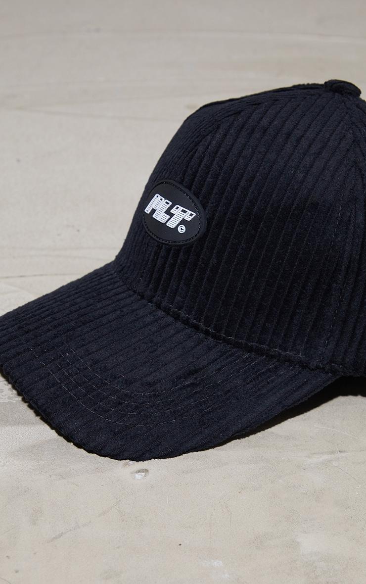 PRETTYLITTLETHING Logo Black Cord Baseball Cap 4
