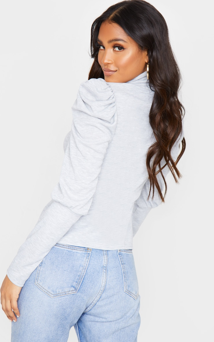 Grey Rib Puff Sleeve Long Top 2
