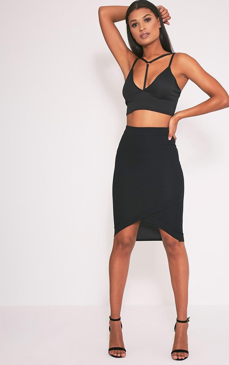 Gabriella Black Wrap Hem Midi Skirt 1