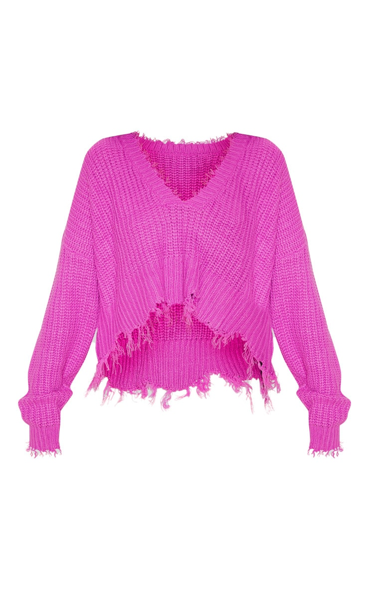 Violet Fringe Hem Knitted Jumper 3