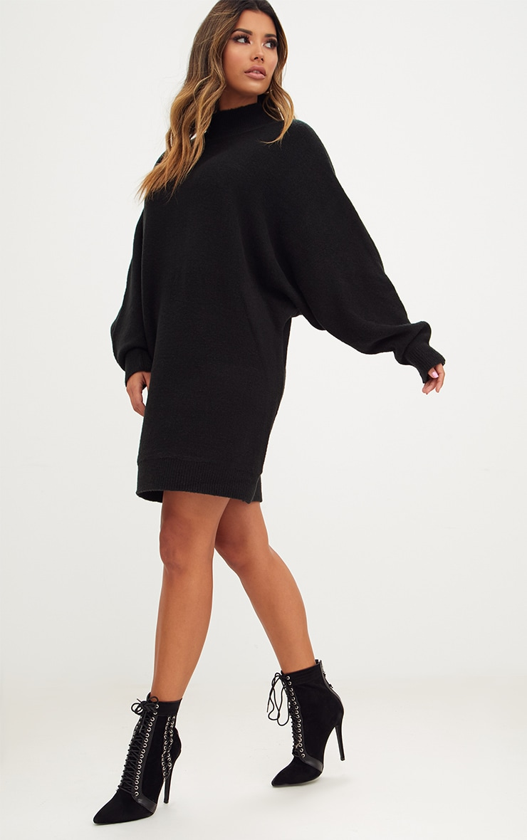 Black Oversized Jumper Dress 4