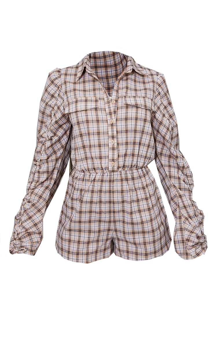 Brown Check Ruched Sleeve Shirt Playsuit 5