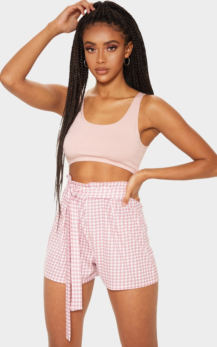 Dusty Pink Gingham Print Ruched Tie Waist Short 1