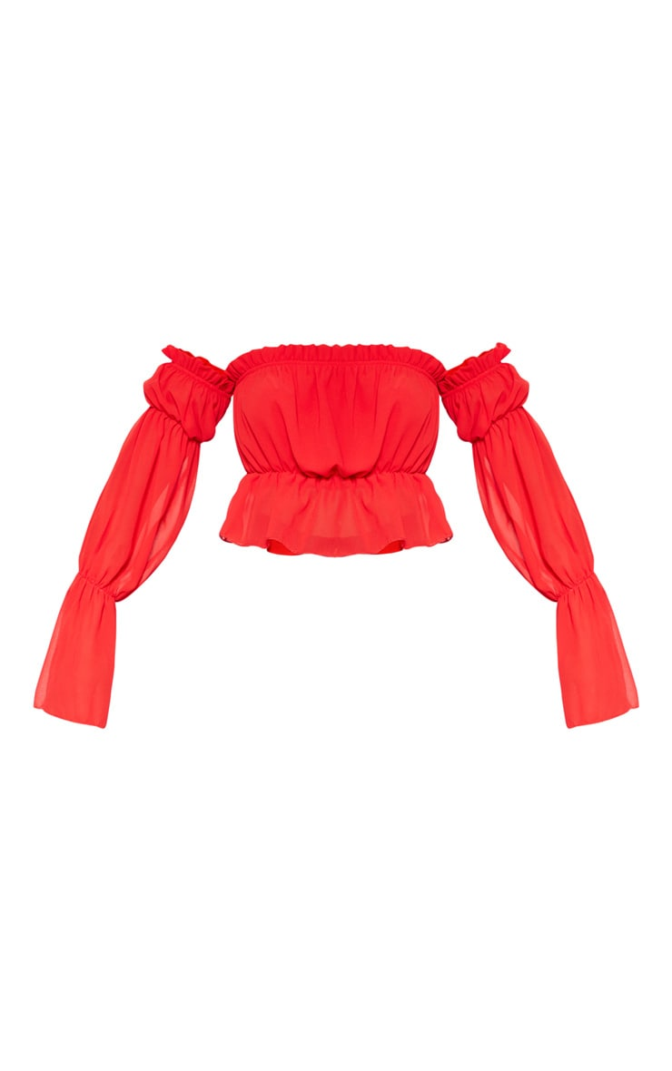 Red Woven Ruffle Bardot Flared Sleeve Blouse  3