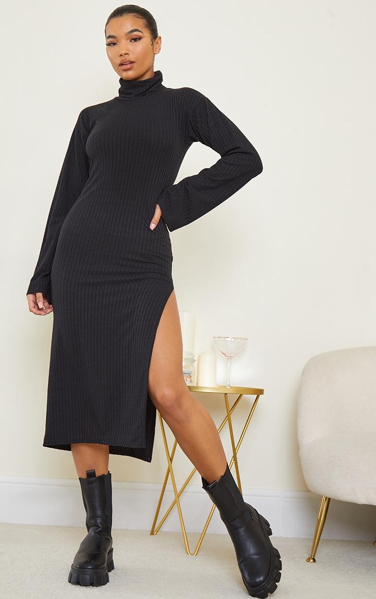 Black Soft Rib Roll Neck Side Split Midi Dress 1