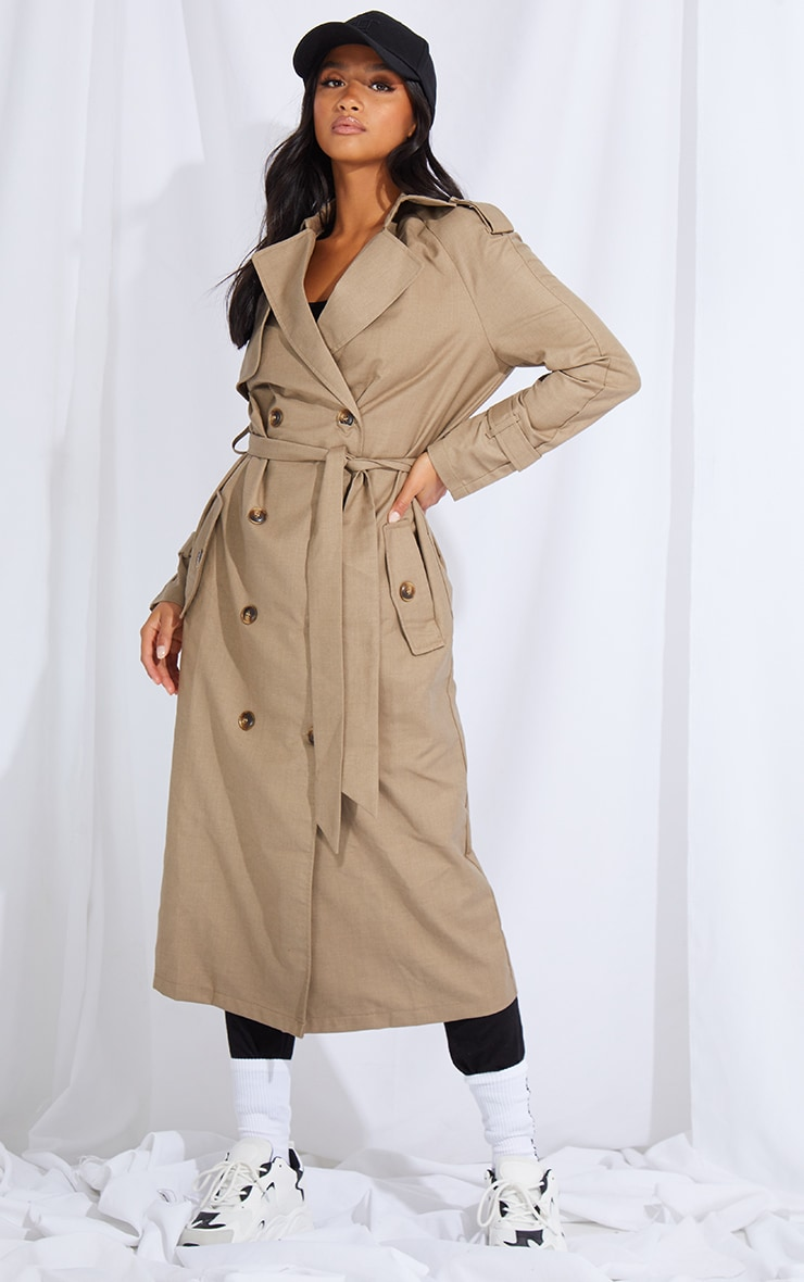 PETITE STONE WOVEN OVERSIZED TRENCH COAT