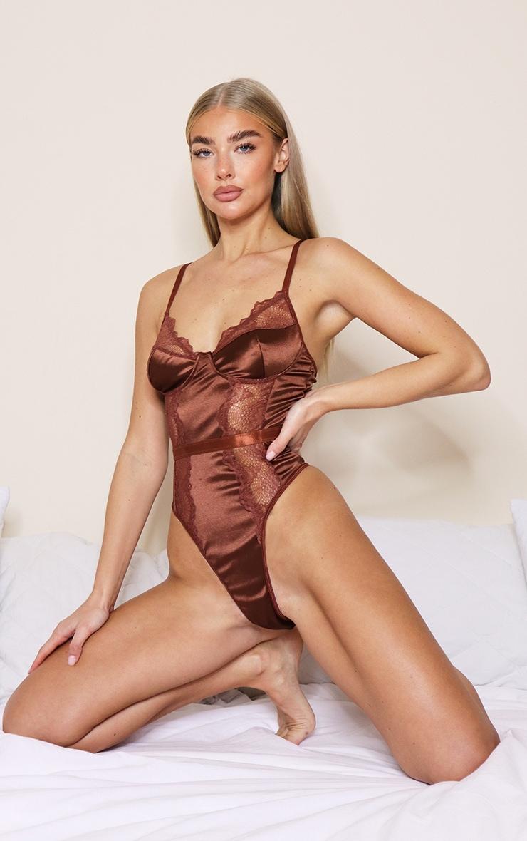 Chocolate Satin Lace Trim Binding Body 1