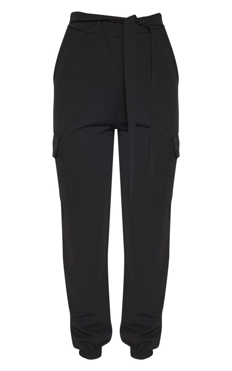 Black Tie Waist Pocket Detail Pants 3