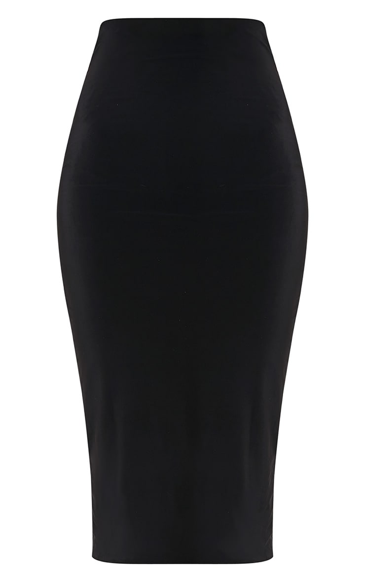 Steffany Black Slinky Long Line Midi Skirt 3
