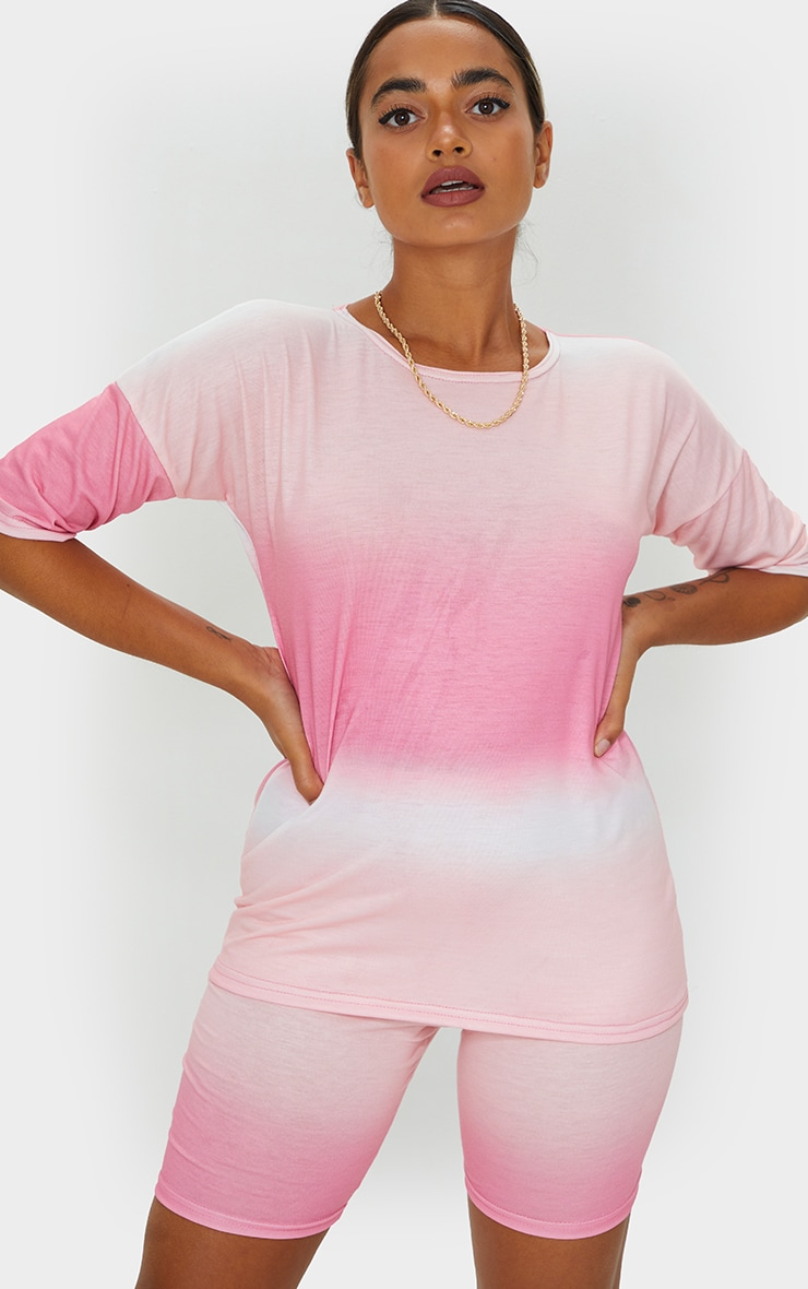 Petite Pink Ombre Oversized T-Shirt 3