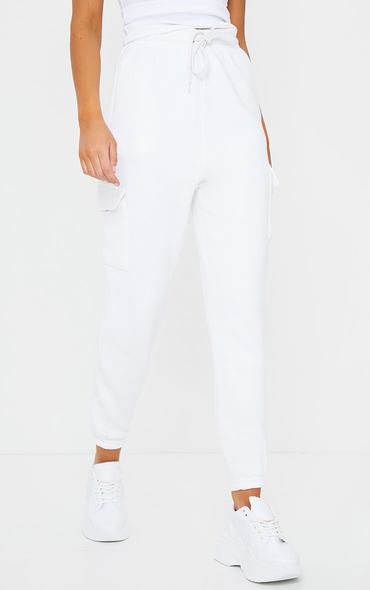 White Pocket Detail Casual Joggers 2