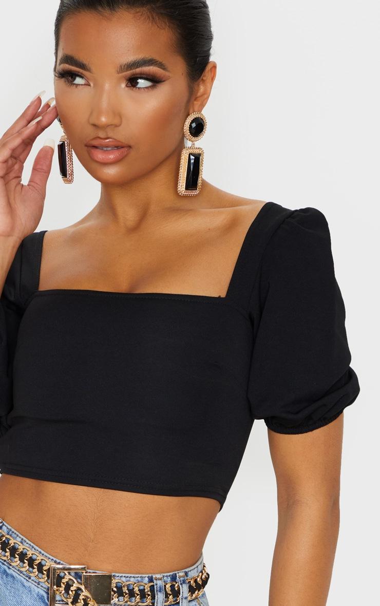Black Scuba Short Puff Sleeve Crop Top 5