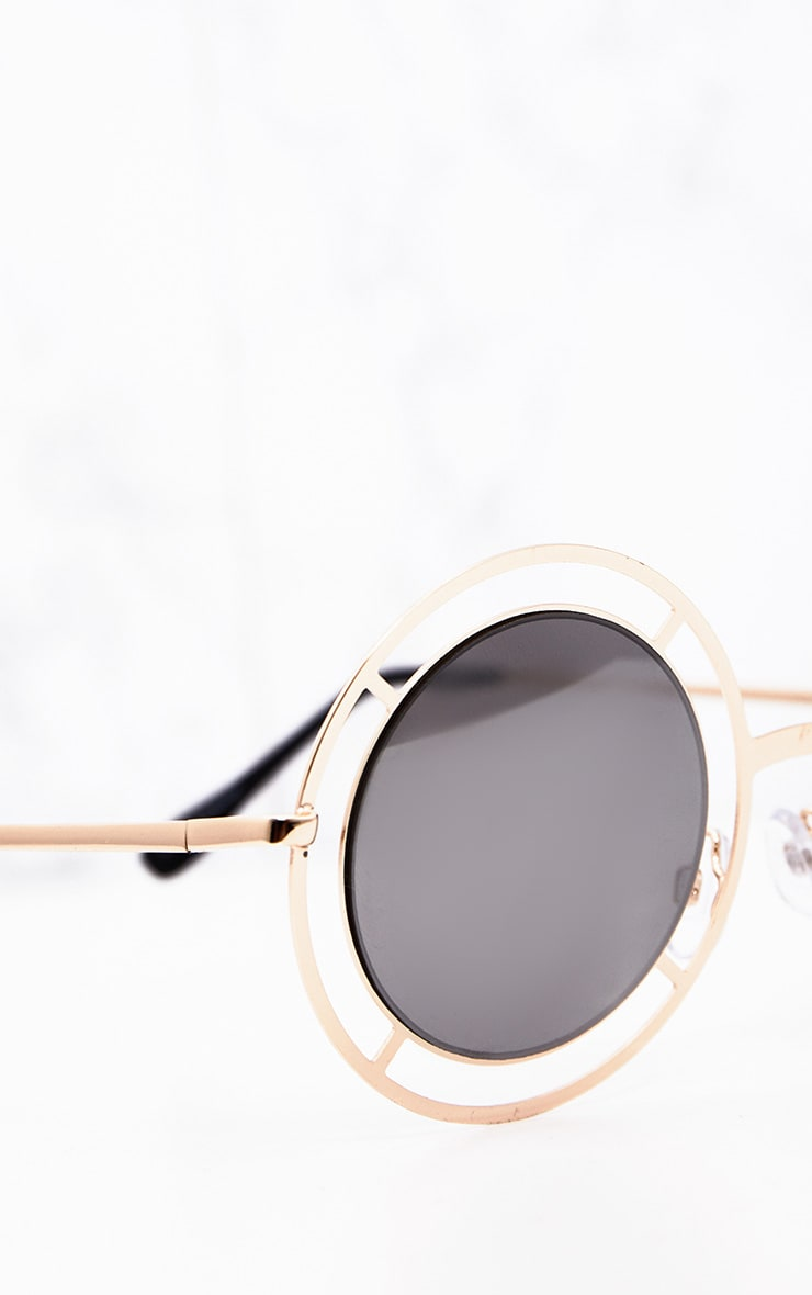 Megan Gold Cricle Frame Sunglasses 5