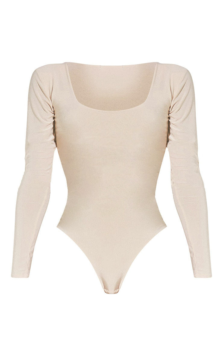 Second Skin Pearl Scoop Neck Long Sleeve Bodysuit 5