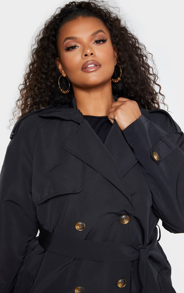 Plus Black Oversized Button Down Trench Coat 5