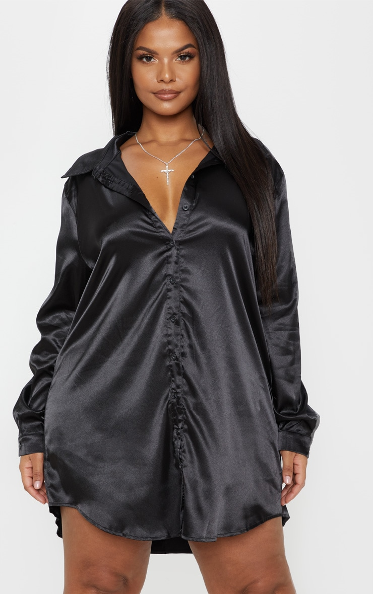 Plus Black Satin Button Front Shirt Dress 1