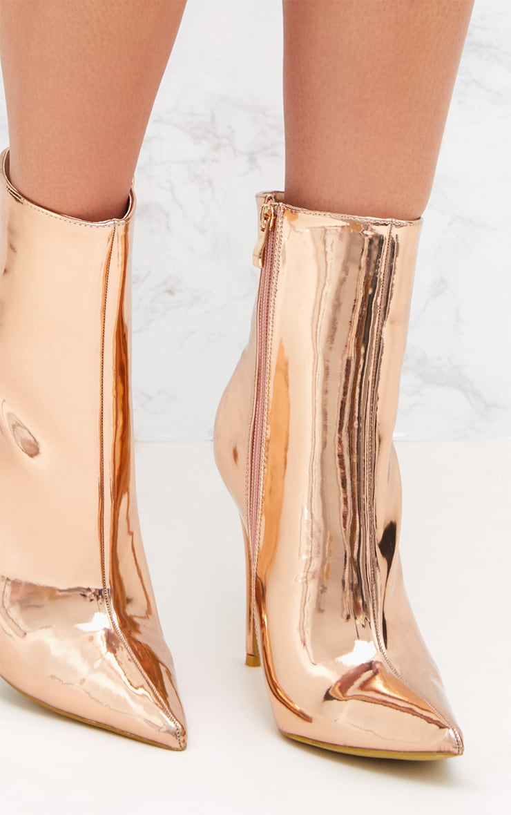 Rose Gold Metallic Heeled Ankle Boot 5