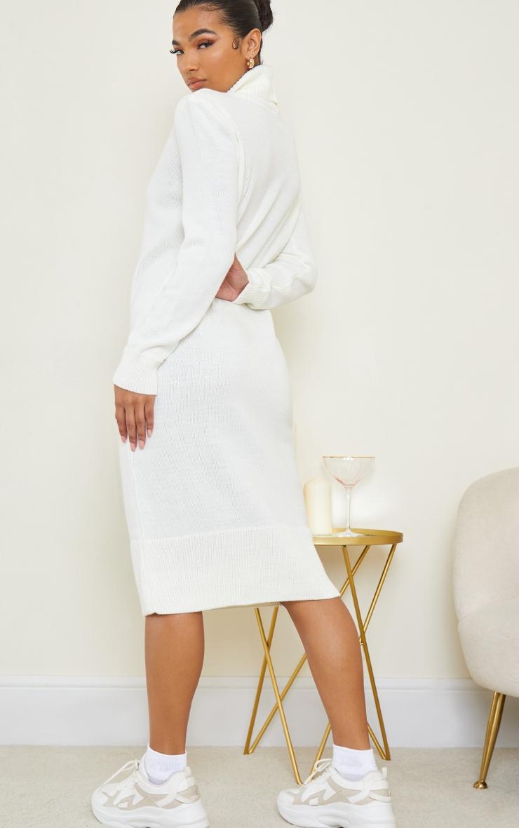 Cream Roll Neck Shoulder Pad Knitted Midi Jumper Dress 2