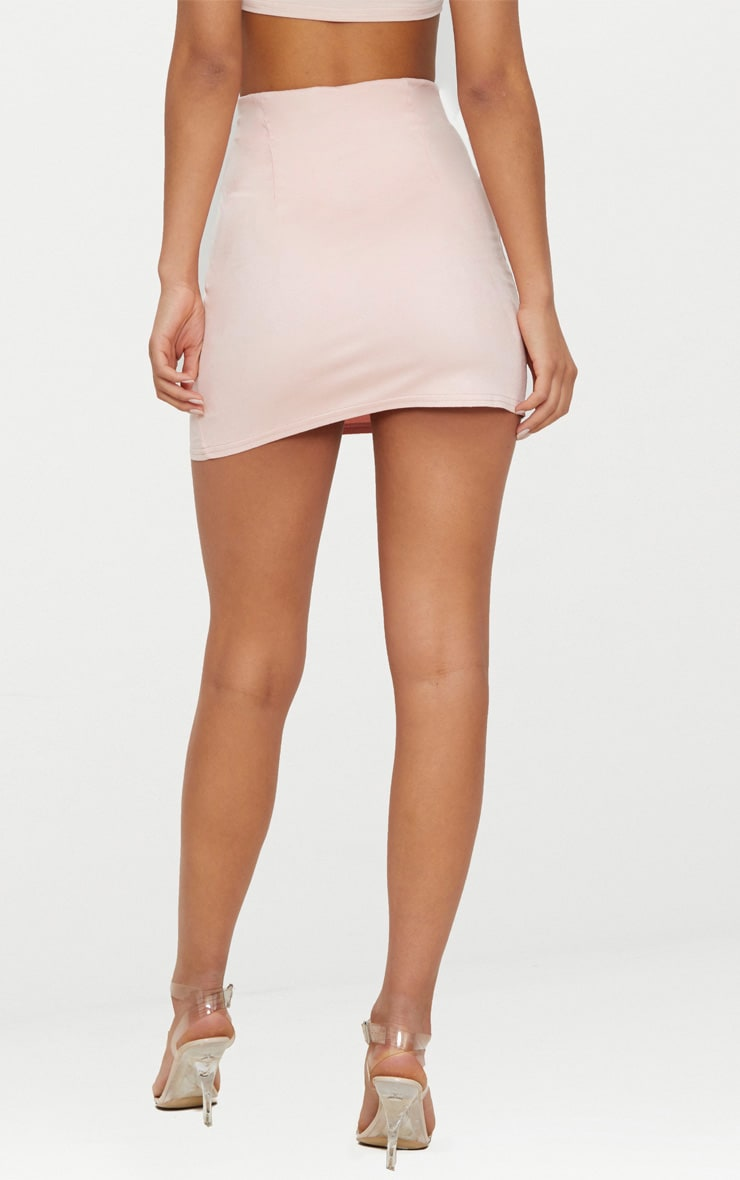 Pink Faux Suede Mini Skirt  4