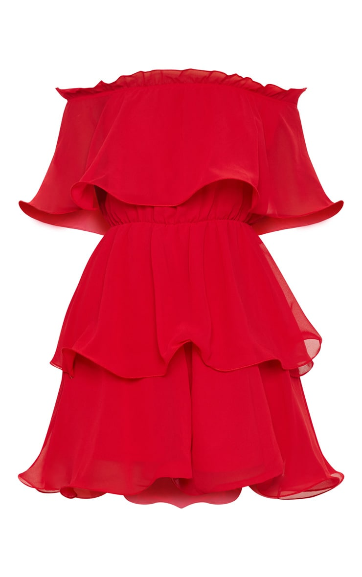 Red Chiffon Bardot Ruffle Tiered Dress 3