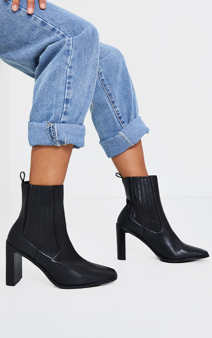 Black High Flat Block Heel Covered Chelsea Boot 1