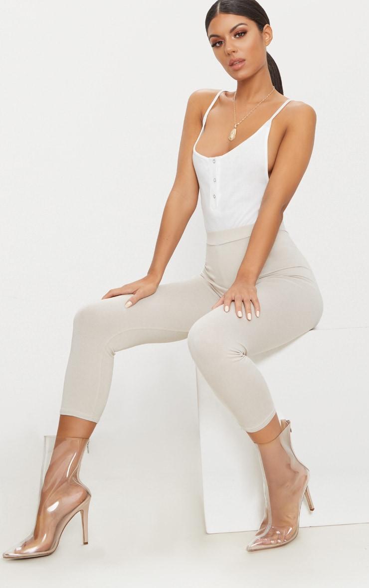 Cream Rib Popper Front Scoop Back Thong Bodysuit 5