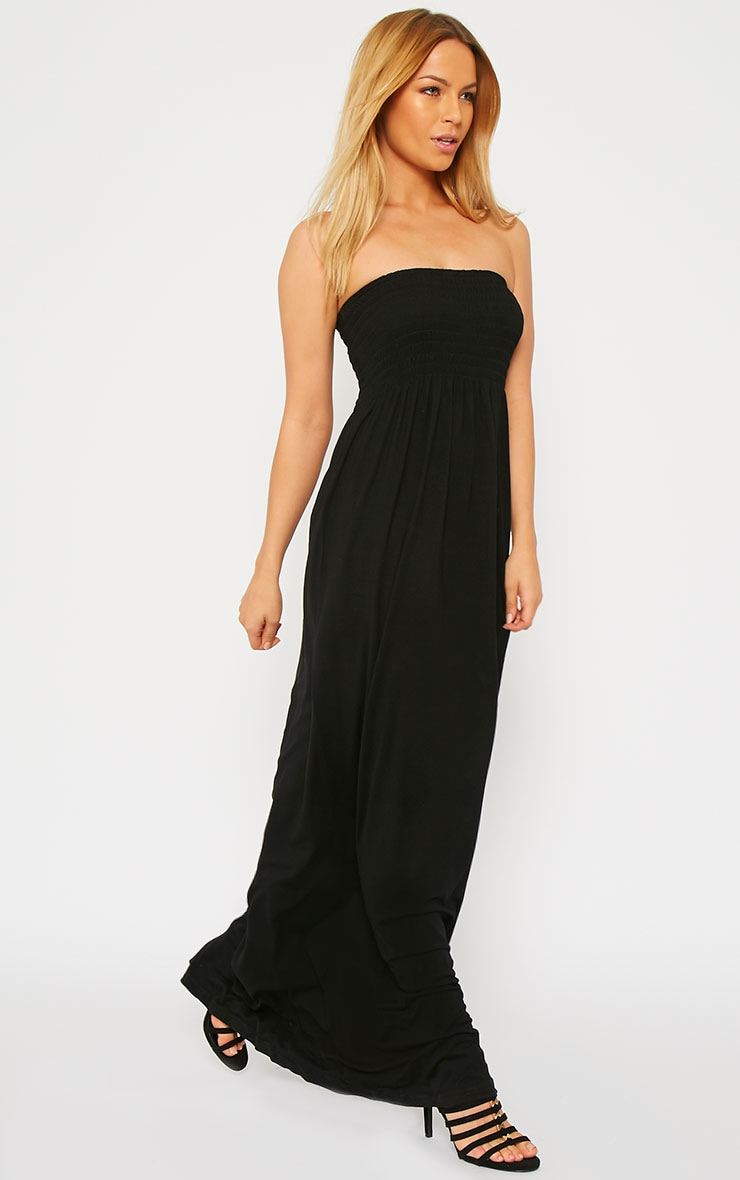 Tamara Black Elasticated Bandeau Jersey Maxi Dress 4