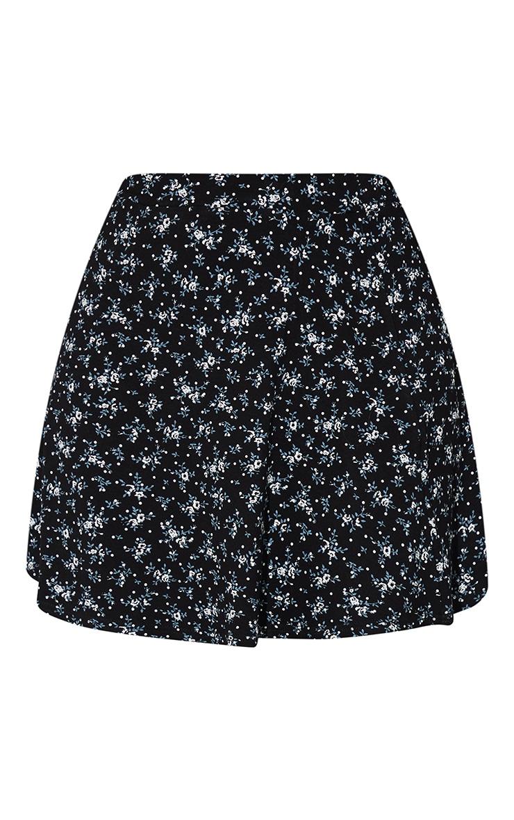 Black Ditsy Floral Mini Skater Skirt 6