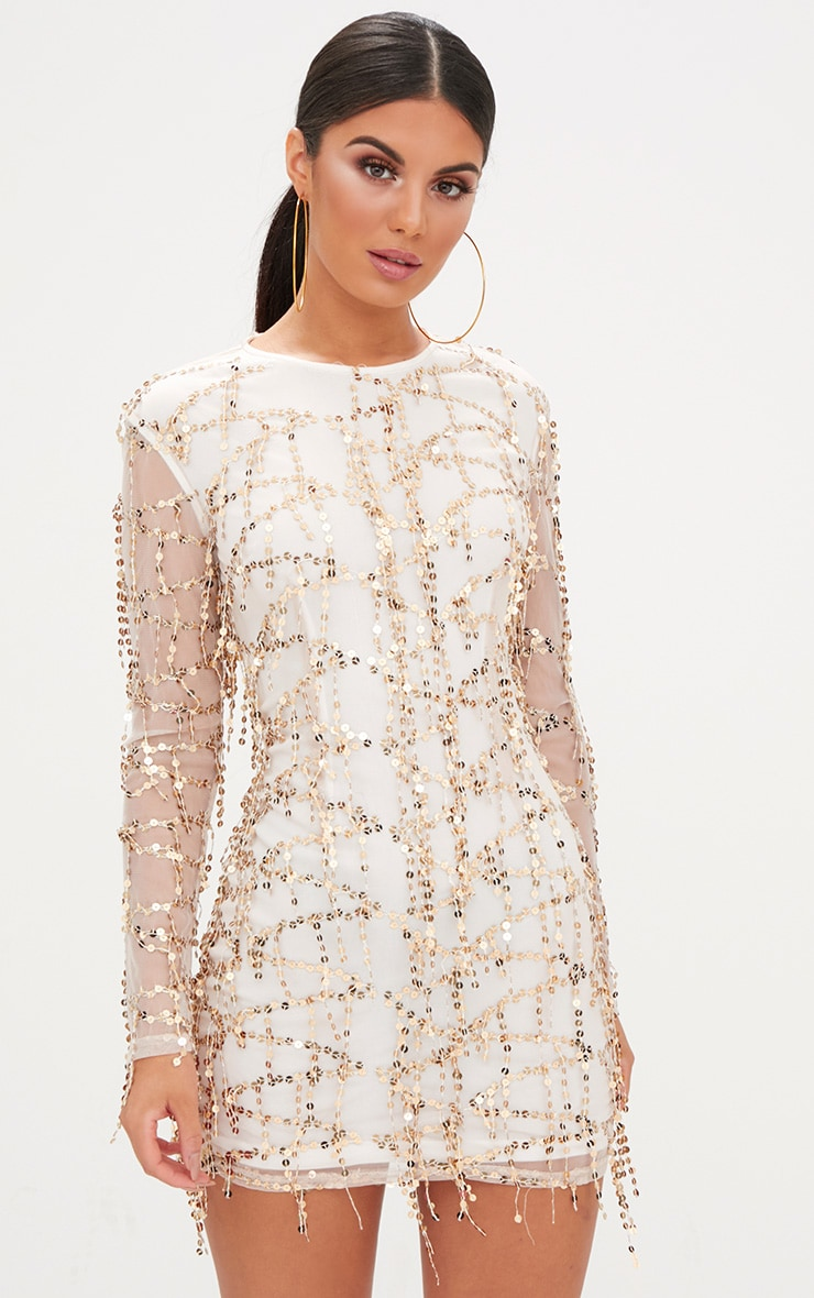 Rose Gold Sequin Detail Long Sleeve Bodycon Dress 1