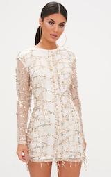 Freyana Rose Gold Sequin Detail Long Sleeve Bodycon Dress 1