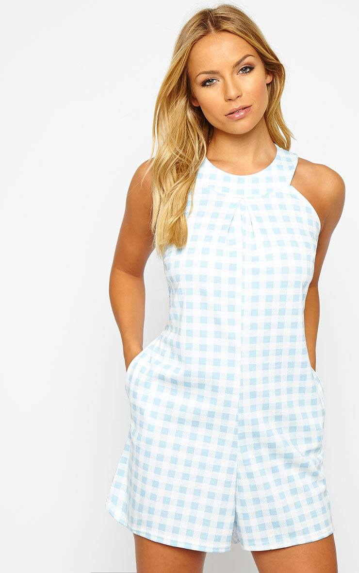 Tammie Baby Blue Gingham Playsuit 1