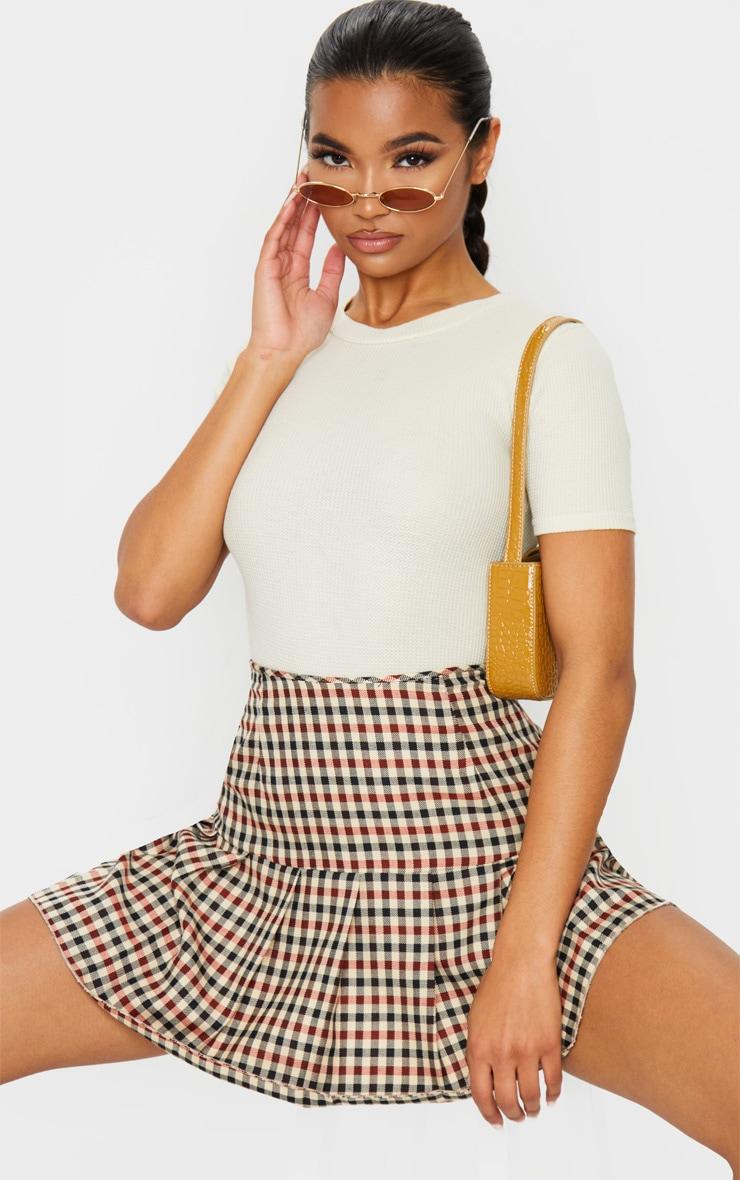 Sand Waffle Knit Short Sleeve Bodysuit 1