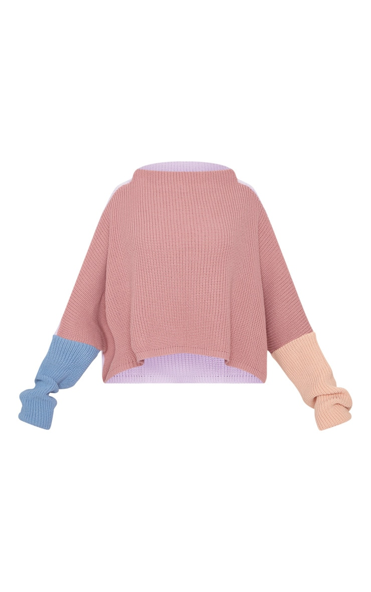 Pink Oversized Colour Block Jumper 3