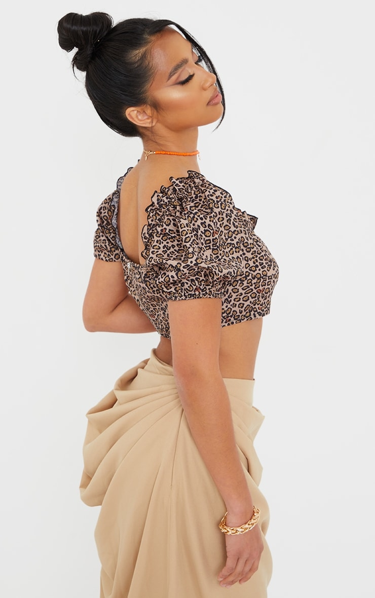 Petite Leopard Ruched Detail Cropped Blouse 2