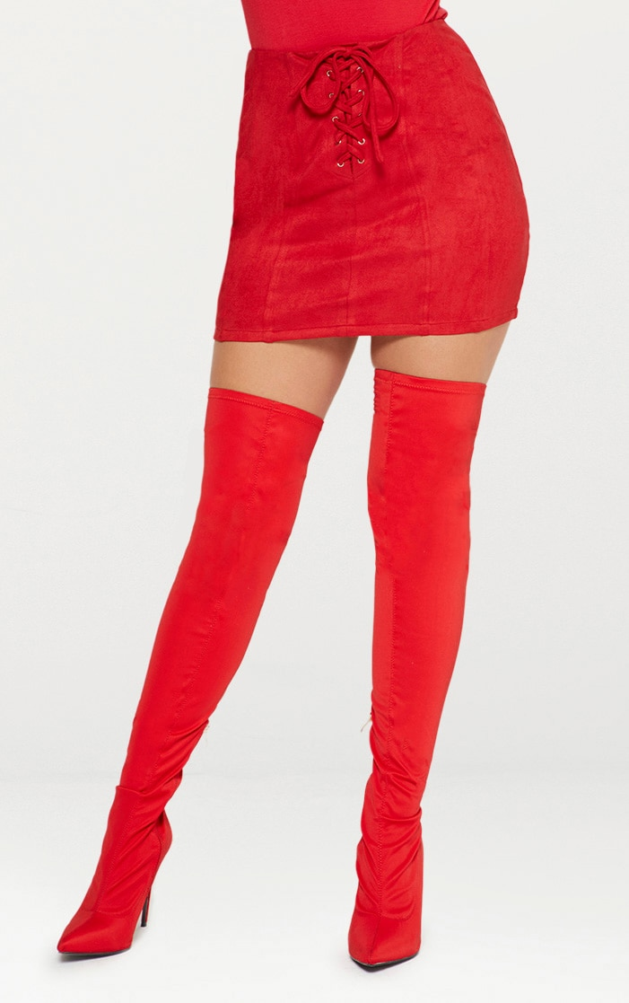 Red Faux Suede Seam Detail Lace Up Mini Skirt 2