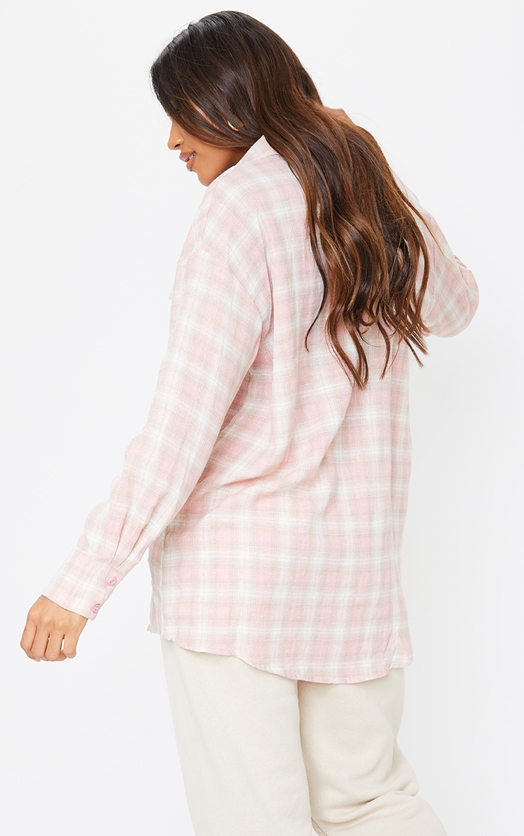 Pale Pink Checked Oversized Pocket Detail Shirt 2