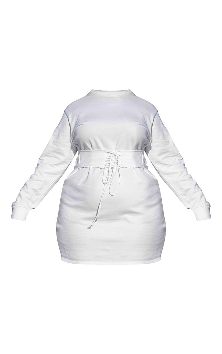 PLT Plus - Robe sweat blanche à détail corset  6