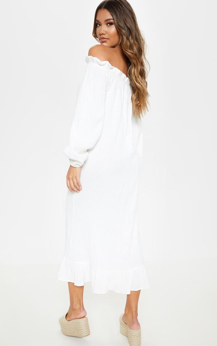 White Frill Hem Bardot Maxi Dress 2