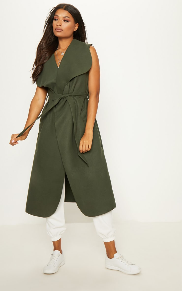 Valerie Khaki Sleeveless Waterfall Coat  4