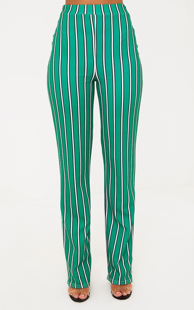 Green Stripe Straight Leg Suit Trousers 4