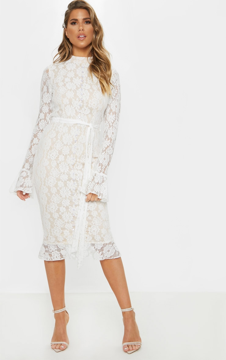 White Lace Button Detail Frill Hem Midi Dress 1