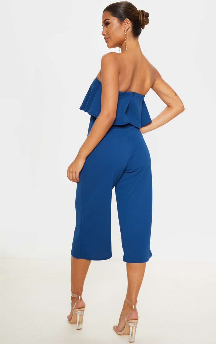 Midnight Blue Double Layer Culotte Jumpsuit 2