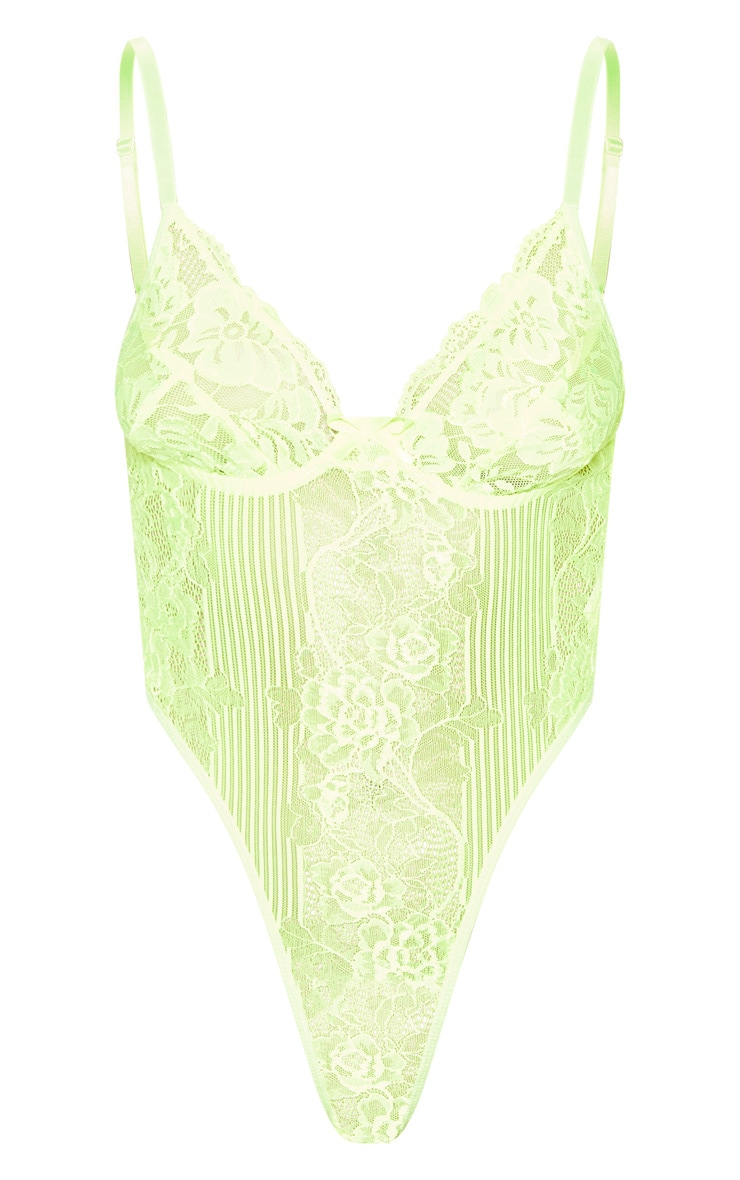 Neon Lime Lace Insert High Leg Cupped Body 3