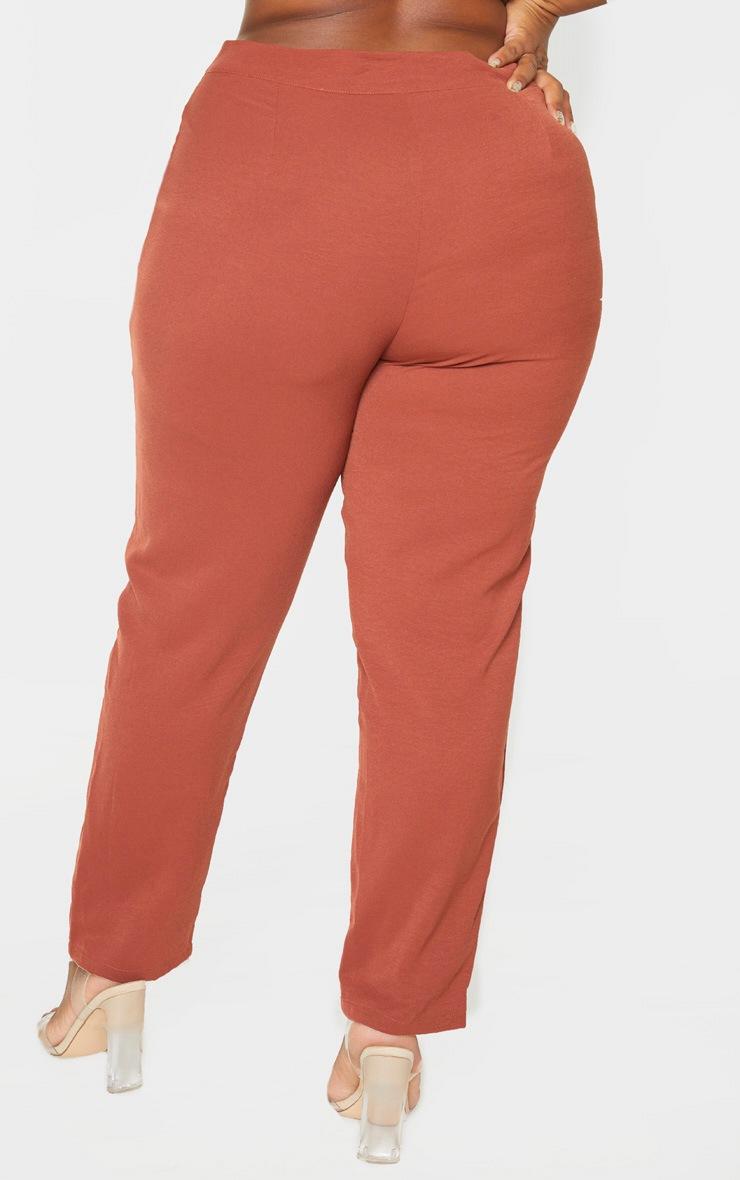 Plus Chocolate Brown Tailored Pants 5