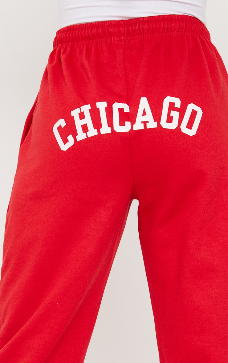 Red Chicago Casual Joggers 4