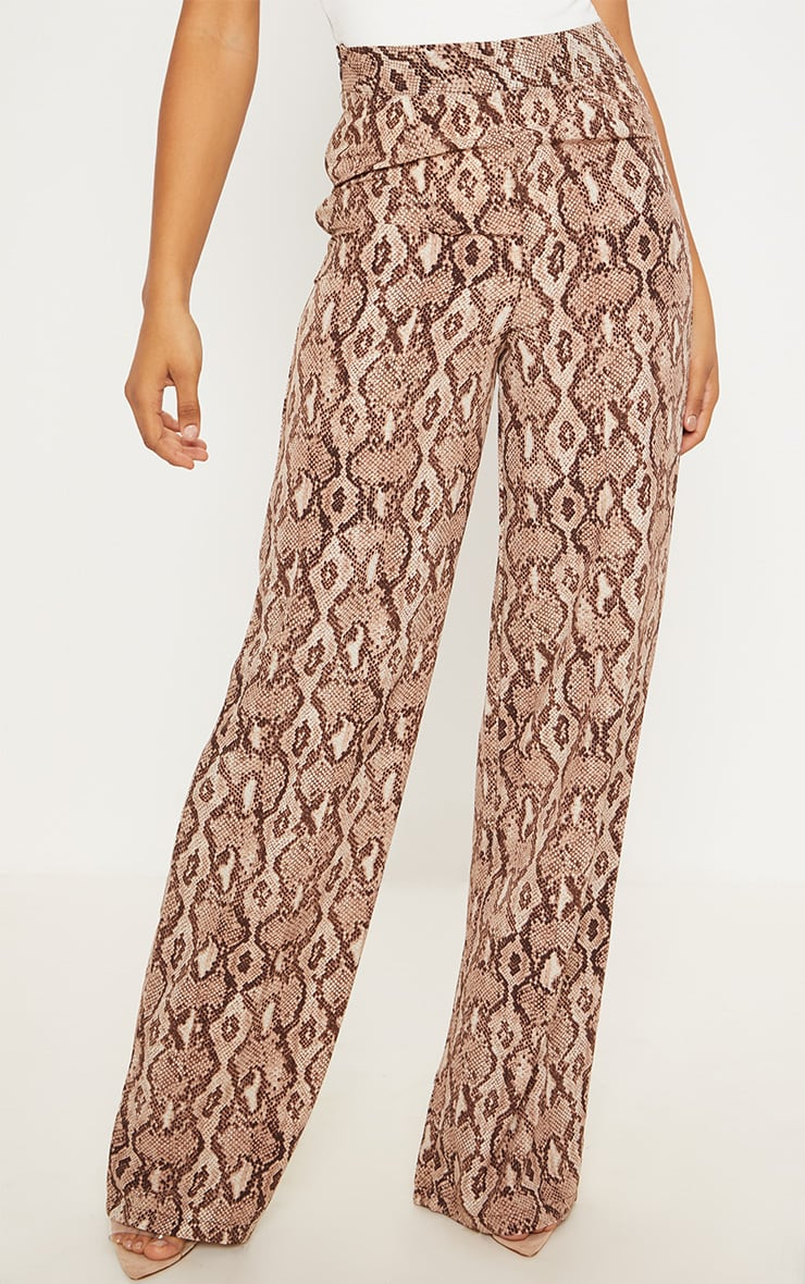 Tall Taupe Snake Print Wide Leg Satin Pants 2