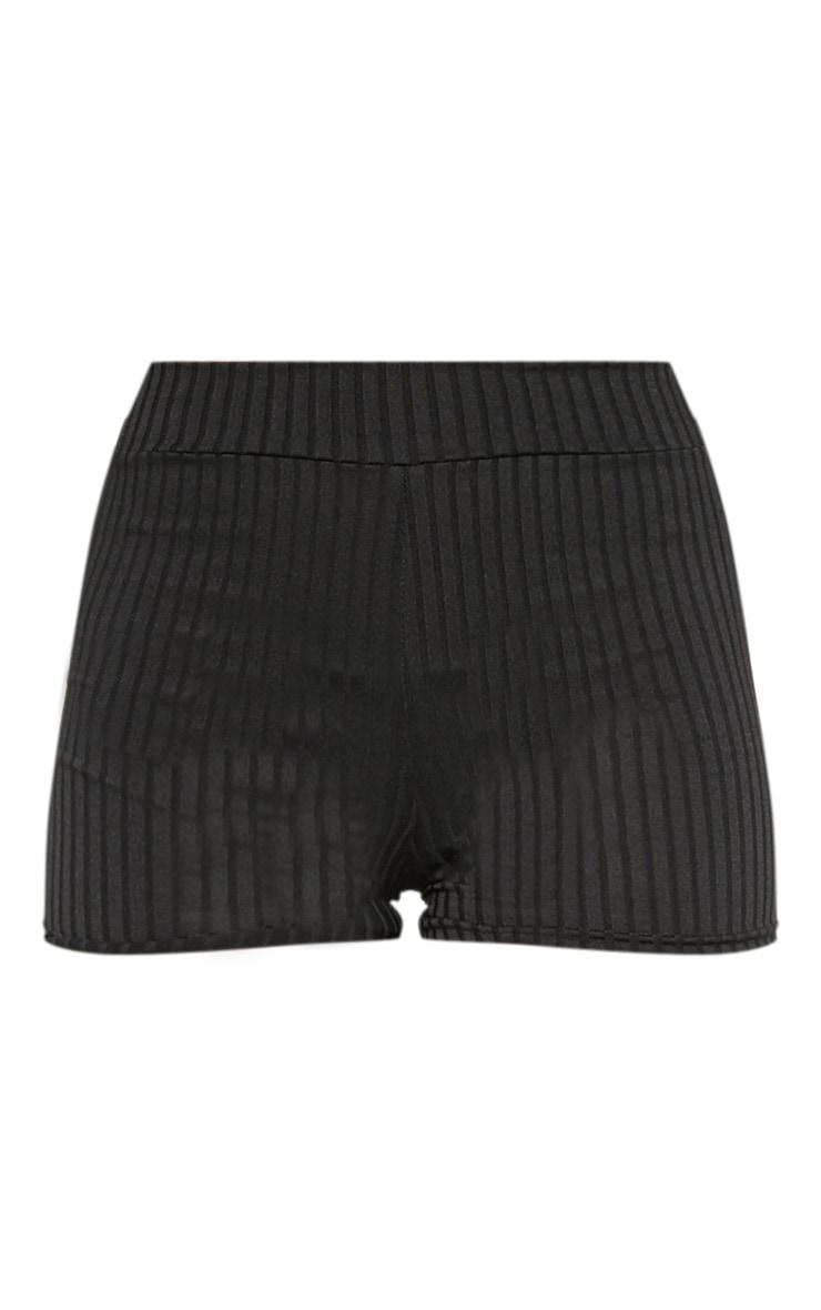 Janice Black Ribbed Shorts 3